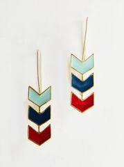 Accessory- Chevron Hook Earrings Blue Multi