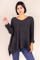 Draped Knit Sweater - Ebony