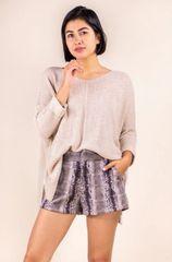 Draped Knit Sweater- Silver