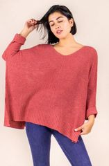 Draped Knit Sweater- Marsala