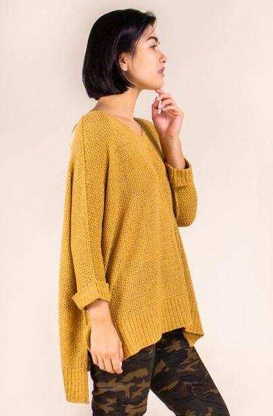 Draped Knit Sweater- Mustard