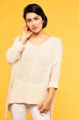 Draped Knit Sweater- Oatmeal