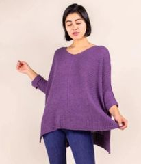 Draped Knit Sweater- Violet