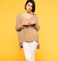 Draped Knit Sweater- Sand