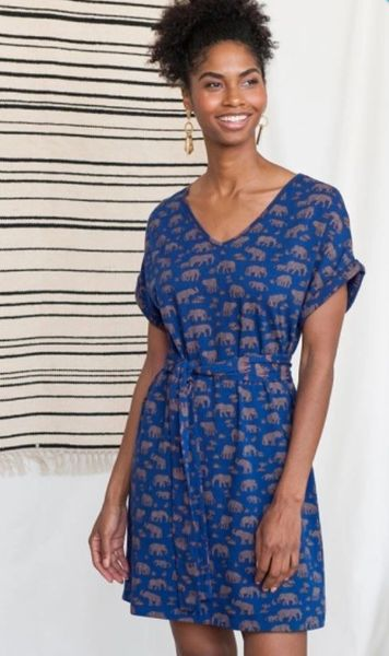 Apparel- Motrose Tie Dress Elephants