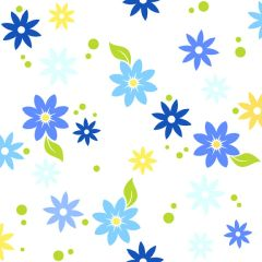 F - Bloom Modern II, Tossed Flowers, Blue