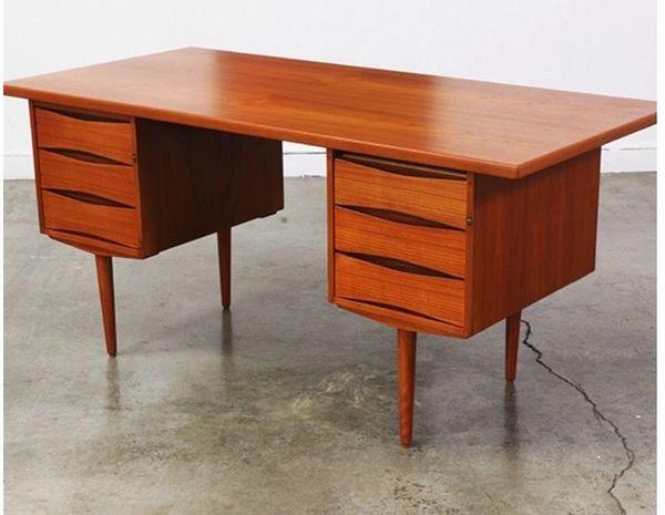 Mid Century Modern Writing Desk- Walnut Wood- Teak - Rosewood Writing Desk-  Danish Modern