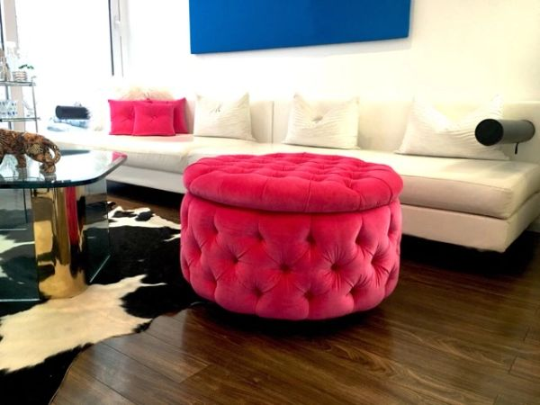 Fabulous Round Ottoman With Storage Velvet Tufted Ottoman On Chrome Castors Hot Pink Evergreenethics Interior Chair Design Evergreenethicsorg