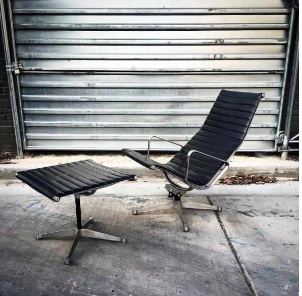 Vintage Eames Aluminum Group Lounge Chair And Ottoman For Herman