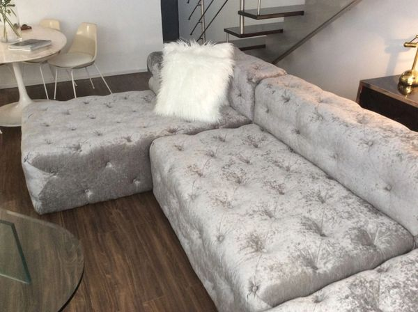 Velvet Button Tufted Sofa Luxury Small Furniture Be