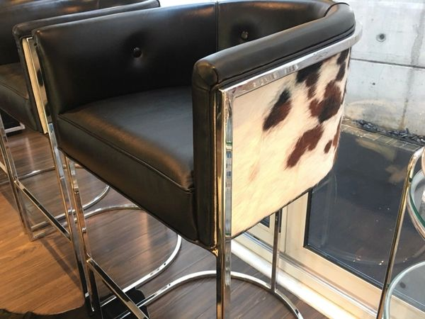 Phenomenal Calvin Leather Barstools Set Of 3 Chrome Cantilever Counter Barstools Tricolor Cowhide Black Leather Seats Pdpeps Interior Chair Design Pdpepsorg