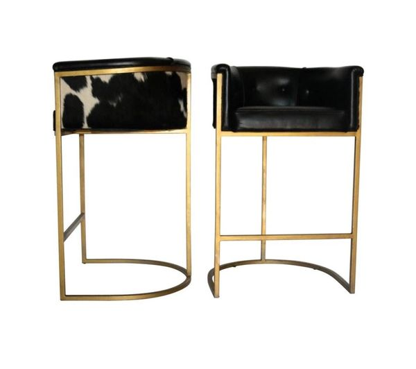 buy online ae34e 8bfff Calvin Leather Bar stool- Cowhide Barstool- Polished Brass Barstool