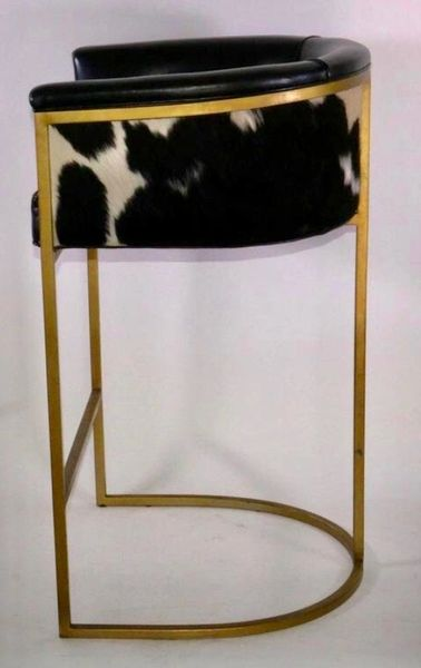 Calvin Leather Bar Stool Cowhide Barstool Polished Brass