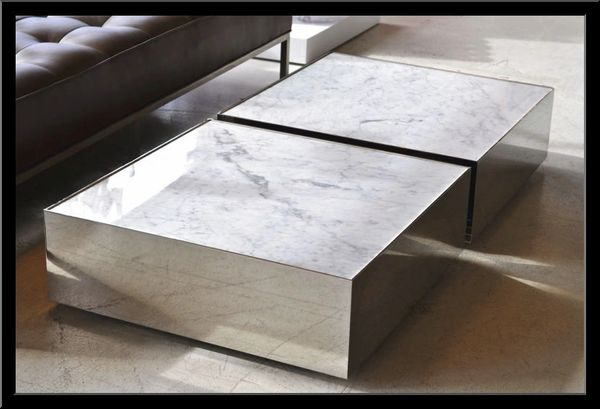 Square Marble Coffee Table Low Profile Modern Coffee Table