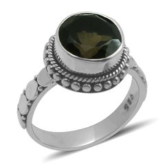 Bali Legacy Collection Brazilian Smoky Quartz (Rnd) Ring in Sterling Silver Nickel Free (Size 6)A 10248