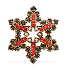Multi Color Austrian Crystal Snowflake Brooch A 10260