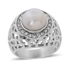 Freshwater Pearl, White Austrian Crystal Ring in Stainless Steel (Size 10) A 10263
