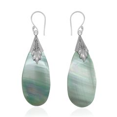 Bali Legacy Collection Mother of Pearl (Tear) Earrings in Sterling Silver Nickel A 10277