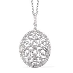 KARIS Collection - Diamond (Rnd) Accent Pendant in Platinum Bond Brass With Stainless Steel Chain (20 in) A 10279