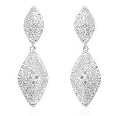 KARIS Collection - Diamond (Rnd) Accent Earrings in Platinum Bond Brass A 10508