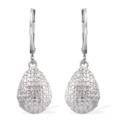 KARIS Collection - Diamond Accent Lever Back Earrings in Platinum Bond Brass A 10509