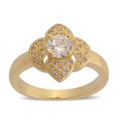 Simulated White Diamond Ring in Goldtone (Size 6.5) A 10541