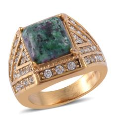 Ruby Zoisite, Austrian Crystal Ring in ION Plated YG Stainless Steel (Size 6) A 10542