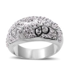 White Austrian Crystal Ring in Stainless Steel (Size 11) A 10552