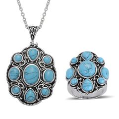 Blue Howlite Ring (Size 6) and Pendant With Chain (20 in) in Stainless Steel A 10533
