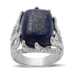 Lapis Lazuli (Cush), Austrian Crystal Ring in Stainless Steel (Size 6) A10545