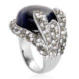 Sodalite (Ovl), Austrian Crystal Ring in Stainless Steel (Size 8) TGW 15.00 cts.