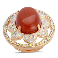 Red Agate, Austrian Crystal Ring In ION Plated YG In Stainless Steel (Size 6) TGW 10.00 cts.