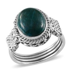 Artisan Crafted Chrysocolla (Ovl) Ring in Sterling Silver Nickel Free (Size 8) TGW 3.650 cts.
