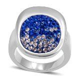 White and Blue Austrian Crystal Ring in Stainless Steel (Size 9) TGW 0.002 cts