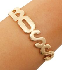 BOSS Lettering in Gold with Gold Chain Stretchable Back. Gold Plating / Material.