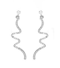 Rhodium metal wave drop earrings with clear stones. Post back closure. 2 Inches Long, Clear / Rhodium Plating / Material.