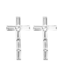 Rhodium metal cross earrings with clear acrylic stones. Post back closure.