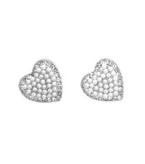 Rhodium heart shape stud post earrings with white pearls.