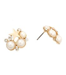Gold metal post earrings featuring cream pearls and star shape studs. Clear stones.