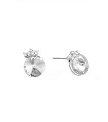 Clear stone stud rhodium metal earrings with clear stones crown. Post back closure, Rhodium Plating / Material.