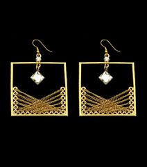 FISH HOOK DROP METAL DANGLE TASSEL SQUARE EARRINGS. 3 INCHES LONG, GOLD PLATING / MATERIAL.