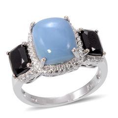 Oregon Blue Opal, Thai Black Spinel Ring in Platinum Bond Brass ( Size 6)