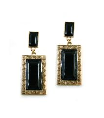 POST RECTANGLE METAL BOLD STATEMENT EARRINGS. 2.25 INCHES LONG GOLD PLATING / MATERIAL.