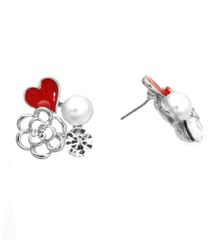 Rhodium metal post earrings with rose shape pendant and red heart. Rhodium Plating / Material.