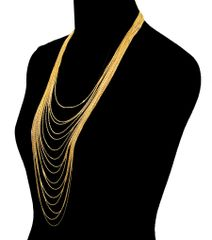 Yellow and gold metal chain layered necklace set with lobster clasp closure. 19 Inches Long, Gold Plating / Material.