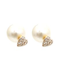 Cream pearl and heart shape with clear stones two studs earrings. Gold Plating / Material.