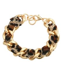 Gold Chain bracelet featuring brown color pattern ribbon twisted. Lobster clasp closure. 7 Inches, Gold Plating / Material.