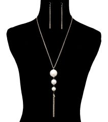 Tassel Pearl Necklace Set. 24 Inches, Rhodium Plating / Material.