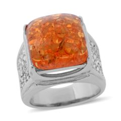 Lab Created Amber, White Austrian Crystal Ring in Stainless Steel (Size 6) TGW 8.001 cts.