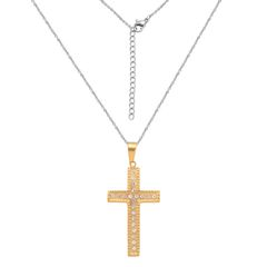 AUSTRIAN CRYSTAL CROSS PENDANT WITH CHAIN, ( 20-22 In ) IN ION PLATED YG AND STAINLESS STEEL.
